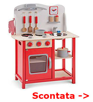 cucina legno rossa bambini